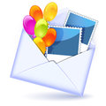 Envelope with balloons and photography Royalty Free Stock Images