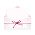 Envelope with Clean Card and Red Bow Ribbon. Royalty Free Stock Photo