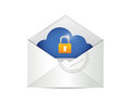 Envelope and cloud security illustration design over a white background Stock Images