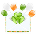 Envelope with clover and colorful ballons on white backg illustration background for st patrick s day Stock Photos