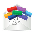 Envelope with color signs illustration design over a white background Royalty Free Stock Images