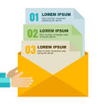 Envelope with document files in hands, isolated background. Flat Royalty Free Stock Photo