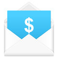 Envelope with dollar symbol notebook sheet and on a white background Royalty Free Stock Photo