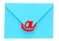 An envelope with an e-mail sign. Modern communication. Stock Image