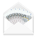 Envelope and five euro banknotes open containing on a white background Stock Images