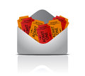 Envelope full of tickets Royalty Free Stock Photo