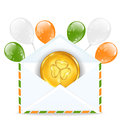Envelope with golden coin and colorful balloons illustration for st patrick s day Stock Images