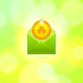 Envelope with golden coin for St. Patrick's Day Royalty Free Stock Photo