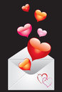 Envelope with hearts Royalty Free Stock Photos