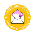 Envelope with love letter, a heart and the greeting happy birthday. Flat color icon, object on a white background