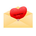 Envelope with love messages heart inside Royalty Free Stock Photos