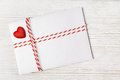 Envelope Mail Red Heart, Ribbon. Valentine Day, Love, Wedding Concept Royalty Free Stock Photo
