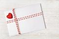 Envelope Mail Red Heart, Ribbon. Valentine Day, Love, Wedding Concept