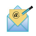 Envelope with a pencil and at sign logo for web use Royalty Free Stock Images