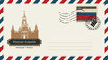 An envelope with a postage stamp with Moscow Kremlin