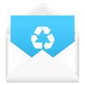 Envelope with recycle symbol notebook sheet and on a white background Stock Photo