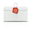 Envelope with red wax seal Royalty Free Stock Images