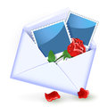 Envelope with rose and photography Stock Image