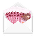 Envelope and ten euro banknotes Royalty Free Stock Image
