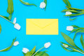 Envelope and tulips Royalty Free Stock Photo