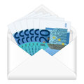 Envelope and twenty euro banknotes open containing on a white background Stock Photos