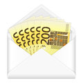 Envelope and two hundred euro banknotes open containing on a white background Royalty Free Stock Photography