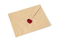 Envelope with wax seal old on a white background Stock Photo