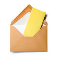 Envelope with yellow Notepad Royalty Free Stock Images
