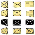 Envelopes set of black on white background illustration Stock Images