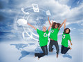 Enviromental activists jumping and smiling composite image of three Royalty Free Stock Image