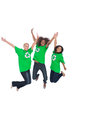 Enviromental activists jumping and smiling three on white background Royalty Free Stock Images