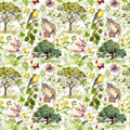 Environment: bird, rabbit, tree, leaves, flowers and grass. Repeating pattern. Watercolor