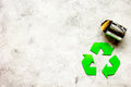 Environment concept with recycling symbol on stone background top view mock-up Royalty Free Stock Photo