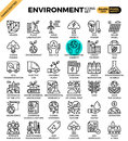 Environment & eco concept detailed line icons Royalty Free Stock Photo