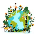Environment, ecology, nature protection concept. People take care of Earth planet. Vector flat cartoon illustration
