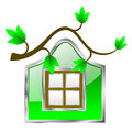 Environment friendly home illustrated tree branch serving as roof wall window Royalty Free Stock Images