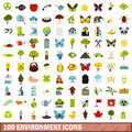 100 environment icons set, flat style