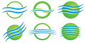 Environment logo a blue green water wave icon set Royalty Free Stock Photo