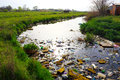 Environment pollution river that is polluted with various garbage and trash photography Royalty Free Stock Photography