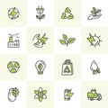 Environment, renewable energy, sustainable technology, recycling, ecology solutions. Icons for website, mobile app design, electri Royalty Free Stock Photo