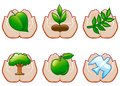 Environment set of conservation icons with human hands Royalty Free Stock Photography