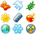Environment set vector of computer shine icons for Stock Photo