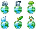Environment set vector of computer shine icons for with globe Stock Photo