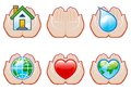 Environment set vector of conservation icons with human hands Stock Photo