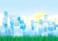 Environment vector cityscape of modern town with green grass Stock Image