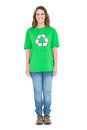 Environmental activist wearing green tshirt with recycling symbol on it white background Stock Photo