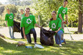 Environmental activists picking up trash Royalty Free Stock Photo