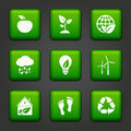Environmental buttons set of vector green Royalty Free Stock Image