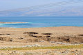 Environmental catastrophe on the dead sea israel landscape of failures of soil and strong shallowing of illustrating an Stock Photo
