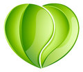 Environmental charity love leaf heart green concept leaves growing into a shape concept for any conservation Royalty Free Stock Images
